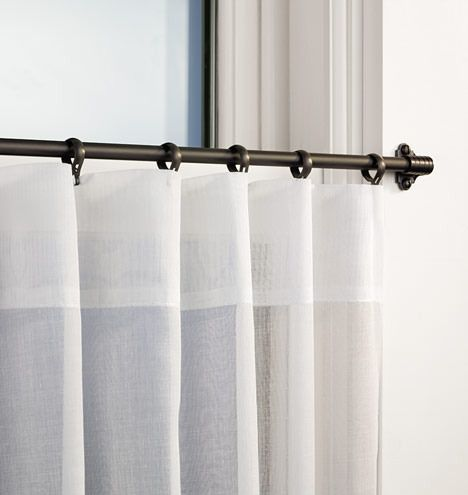 Cafe curtain rod, outside mount - from Rejuvenation, many metal finishes available (inc. polished nickel)