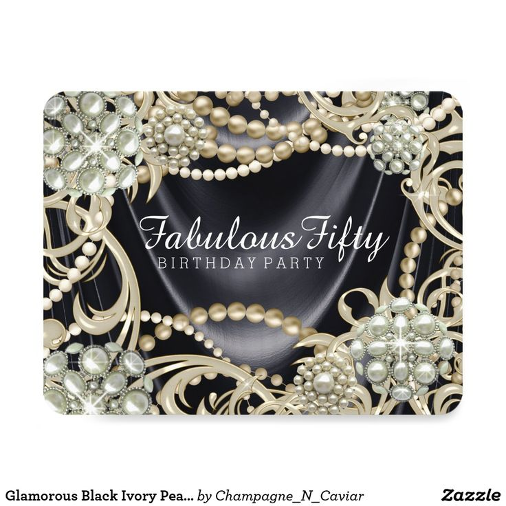 Glamorous Black Ivory Pearl Birthday Party Card Woman's pearl birthday party invitation with elegant strands of pearls and pearl swirls on a black satin background. You can add your details in the font style and wording of your choice.
