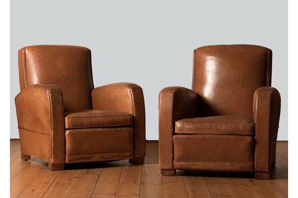 Pair Of 1930's Leather Club Armchairs | vinterior.co