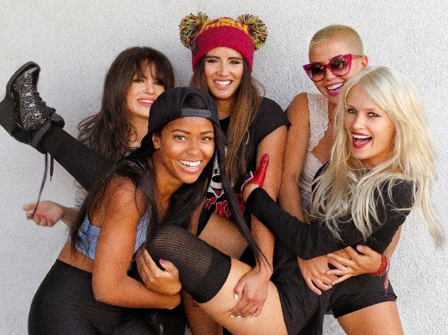 Girls!!!!!!!! This undated publicity photo released by RCA Records shows members of G.R.L., clockwise from foreground left, Simone Battle, Natasha Slayton, Emmalyn Estrada, Paula Van Oppen and Lauren Bennett. G.R.l. is one of a new crop of girl groups currently on the music scene. (AP Photo/RCA Records, Tomo Muscionico)