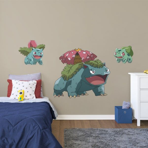 Boys Video Game Room. Pokemon. Bulbasaur Evolution Wall Decal. Follow us on Pinterest for all your home decorating ideas.