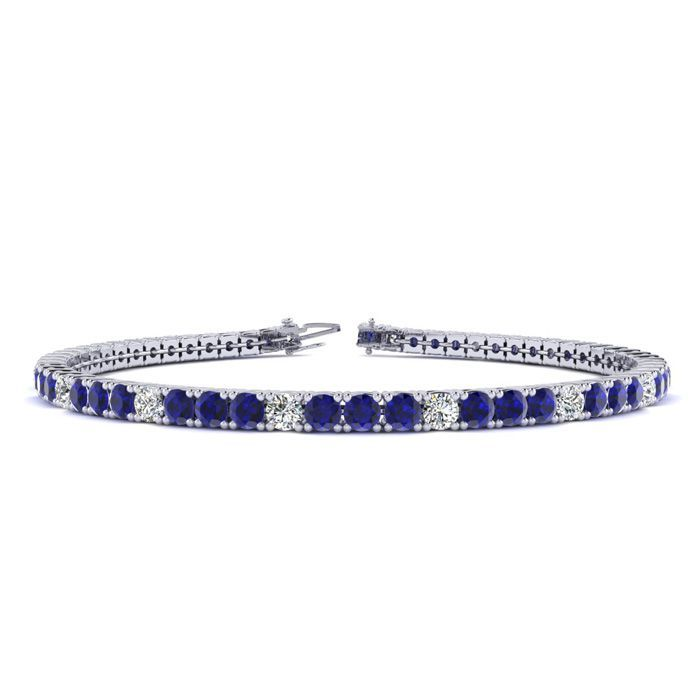 6 5 Inch 3 1 2 Carat Sapphire And Diamond Alternating Tennis Bracelet In 14k White Go Tennis Bracelet Diamond Tanzanite Bracelet Sapphire Bracelet