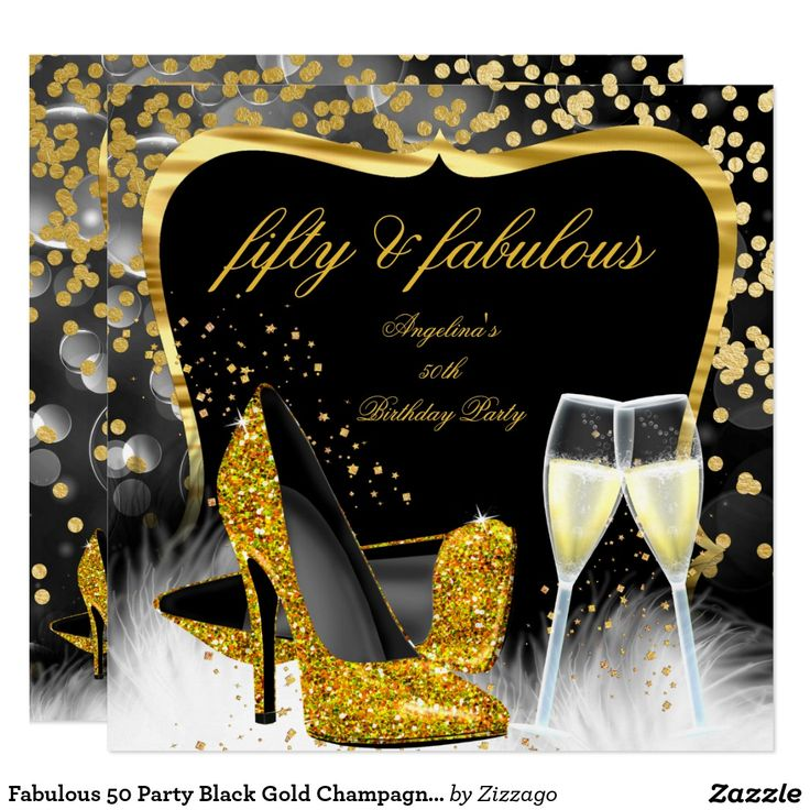 Fabulous 50 Party Black Gold Champagne High Heel ...
