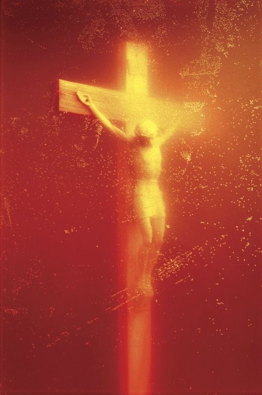 Andres Serrano, Piss Christ (Immersions), 1987. Pigment print, back-mounted on dibond, wooden frame © Andres Serrano, Courtesy of the artist and Galerie Nathalie Obadia, Paris/Brussels