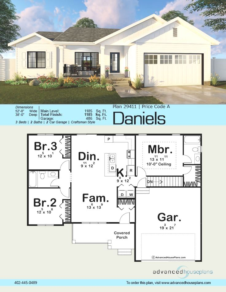 A Modern Farmhouse Facade The Daniels Is A Handsome 1 Story House Plan With A Great Floor Plan To Match Th House Plans Farmhouse New House Plans Facade House