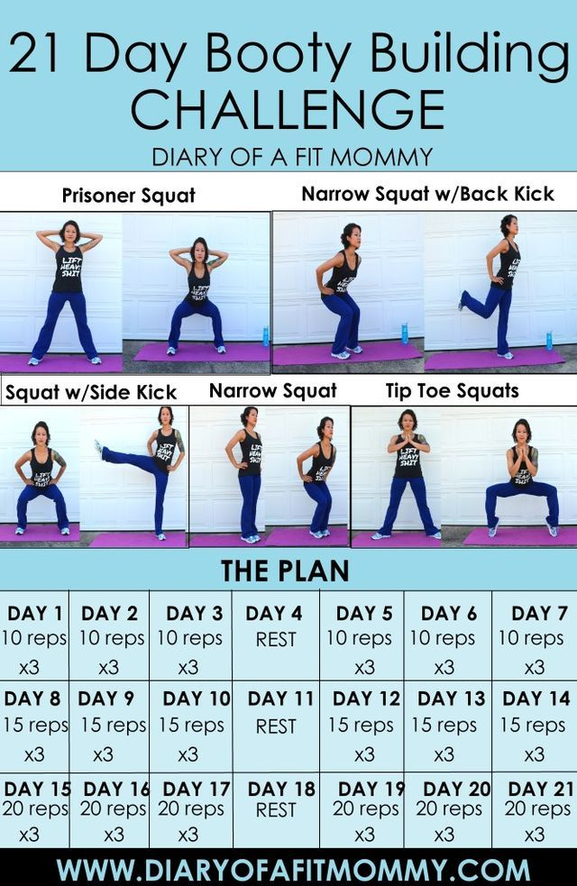 "Who's ready to transform their booty in just 21 days? Who loves squats? If you said ""ME!!!"" to both of those questions, then you are going to LOVE this challenge. Getting started: The challenge consis"