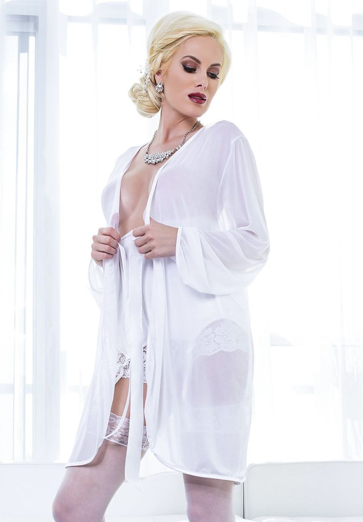 White Full Length Sleeves Mesh Robe