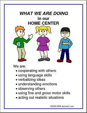 What We Are Doing Sign: Home Center - List of objectives for a home center