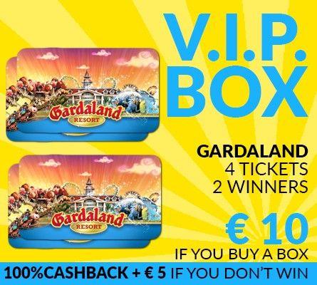 V.I.P. BOX - Gardaland 4 tickets 10 €! Win or 100%Cashback + 5 €!