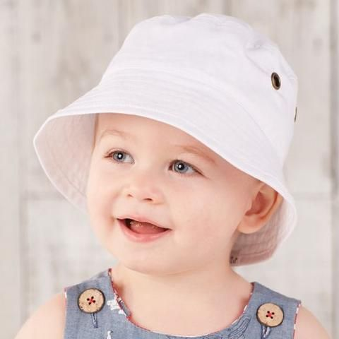 White Twill Bucket Hat with Grommets Baby Boy Sun Hat  96bfad9b2ca