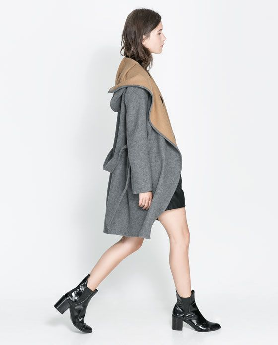 Image 2 of HOODED WOOL COAT from Zara