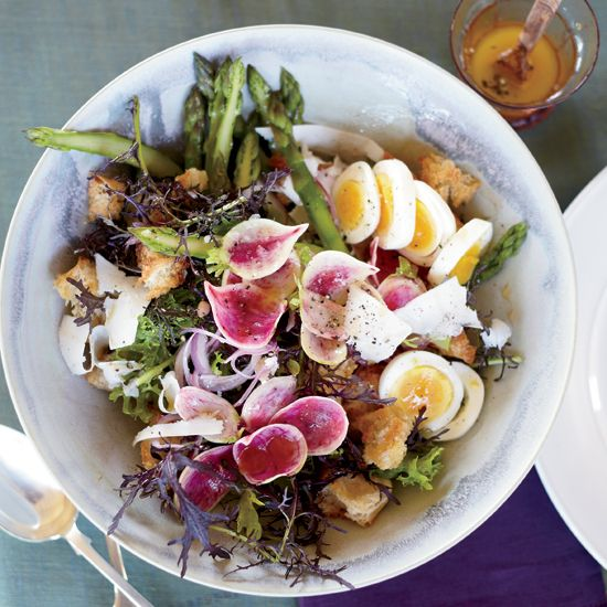 Recipes for panzanella (a Florentine bread salad popular in the summer) typically call for tomatoes, but in the spring, Mike Lata prefers using seasonal ingredients like asparagus and radishes.