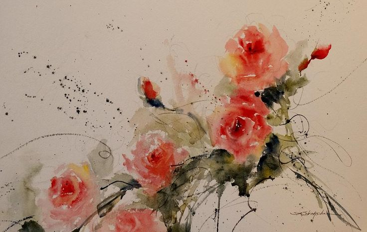 "Roses Painting TitleRosesArtistSandra StrohscheinMediumPainting - WatercolorDescriptionI was suffering from a little creative block after working really hard for about three weeks. I was also battling a stomach bug....just all in all a bit of a down day Thursday. I wanted to paint but found myself staring at the white paper. I remember something my husband would say to me when I don't know what to paint....he would say ""Paint roses, they are your 'go to pitch'....meaning if all else fails…"