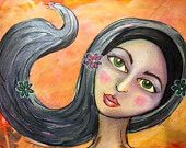Mixed Media Whimsical Portrait by artist Karen Campbell of Cool Mama Crafts.  Prints for sale on etsy, SHIP FREE!