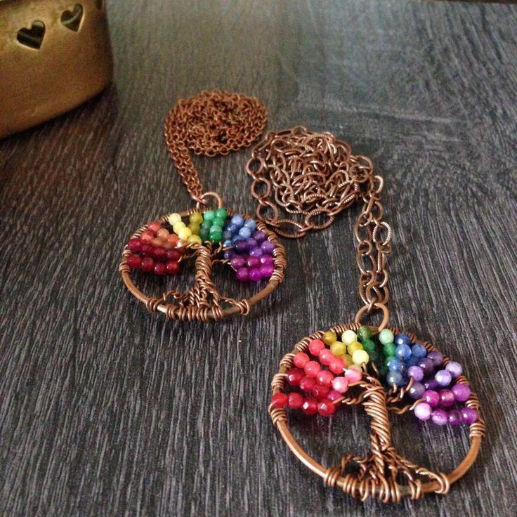 Collana lunga Albero Della Vita in rame ed agata colorata con catena in rame semplice hippie boho chic colori chakra pace di Cuony su Etsy