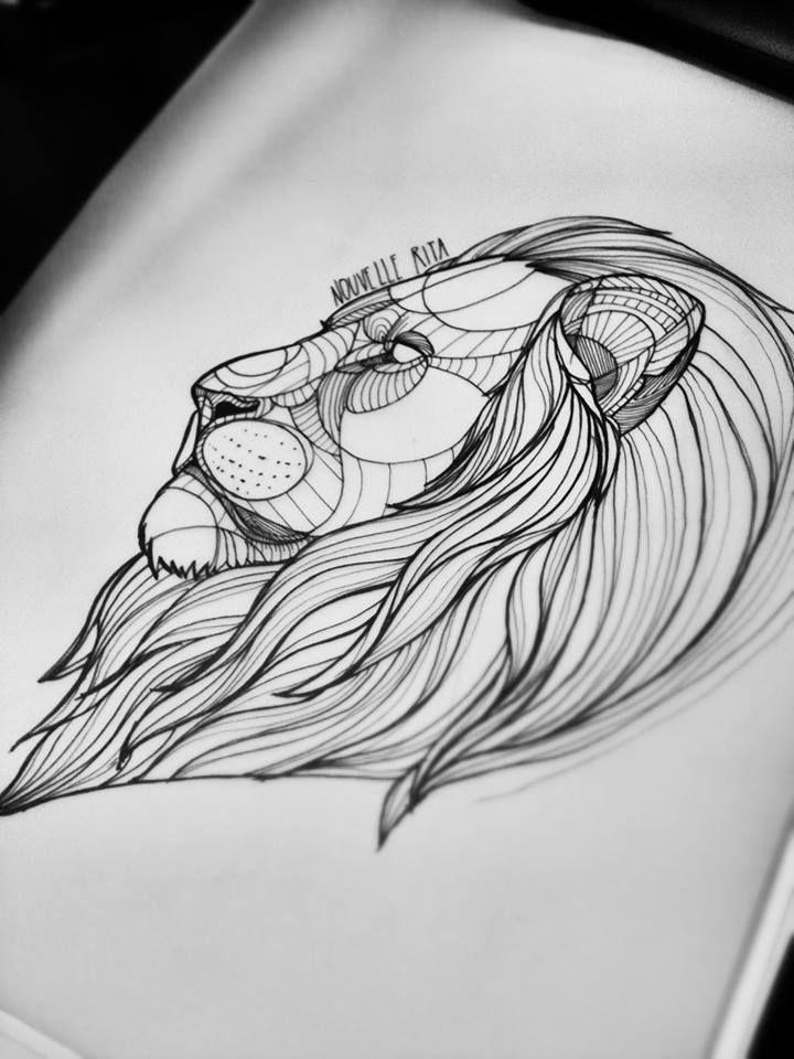 nouvell rita amazing lion again d 39 un trait de crayon pinterest tatouages g om triques. Black Bedroom Furniture Sets. Home Design Ideas