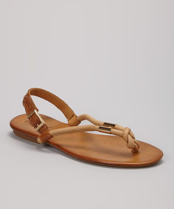 Love this INUOVO Light Brown Embellished Leather Slingback Sandal by INUOVO on #zulily! #zulilyfinds
