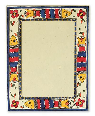 Madhubani photo frame, 'Indian Ocean' (5x7) by NOVICA