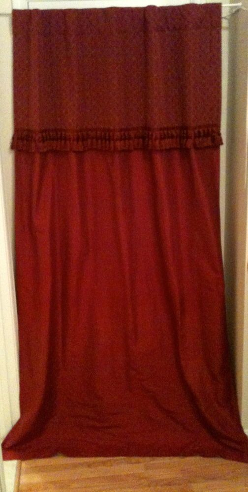 Details about Stunning Scarlet Silk Curtains Dupioni Lot of Four 84″ x 48″ Panels Tassels Posh