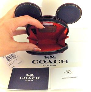 COACH-X-DISNEY-Limited-Edition-MICKEY-MOUSE-Ears-Leather-Coin-Purse-Case-NWT