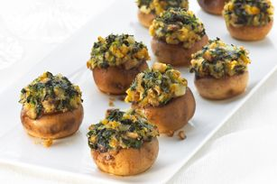 Spinach-Stuffed Mushrooms. Easy! Made with Stove Top stuffing. Try it! Leftover stuffing can be rolled up in thin chicken cutlets sprinkled with cheese and baked for a delicious meal.