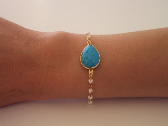 Rosary Bracelet  Turquoise Beaded Jewelry  by VasiaAccessories