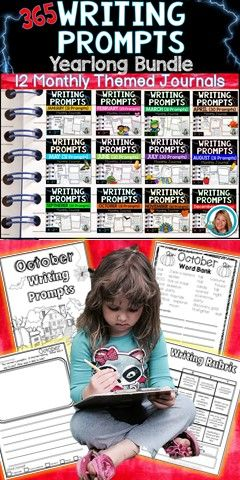Writing Prompts for kids JOURNAL Bundle! Check out these 365 creative prompts for the whole YEAR! 12 Journals in all.