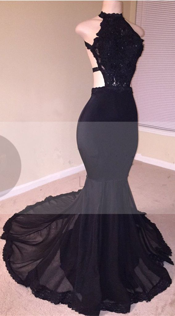 Black Lace Prom Dress | 2018 Halter Party Dress With Appliques ...