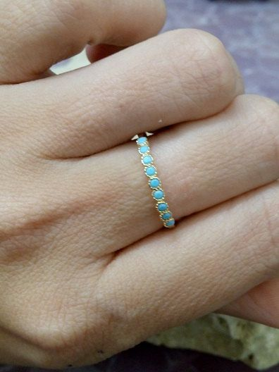 This ring features a delicate tiny Turquoise Arizona gemstones set in 14k gold filled ring.  => Gemstone Type - Turquoise => Gemstone Size -