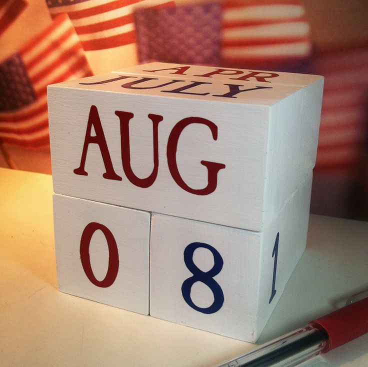 perpetual wooden USA calendar PATRIOTIC unique gift for teacher military decorative decor for cubicle classroom desk accessory American Flag by…