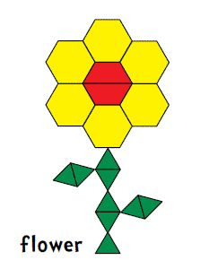 Pattern Blocks. Flower made of hexagons and other shapes.
