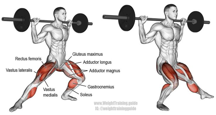 Barbell side lunge. A compound unilateral lower-body exercise. Target muscles: Quadriceps (Vastus Lateralis, Vastus Medialis, Vastus Intermedius, and Rectus Femoris). Synergistic muscles: Gluteus Maximus, Adductor Magnus, Adductor Longus, Adductor Brevis, and Soleus. Dynamic stabilizers: Hamstrings and Gastrocnemius. Leg exercises to get you strapped