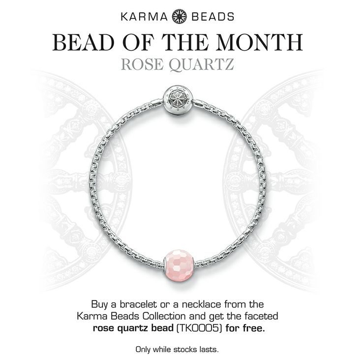 The Rose Quartz Karma Bead is the Gift you receive with the purchase of a Silver Karma bracelet or necklace during June 2014