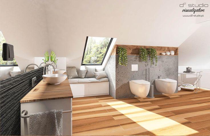 Bathroom on the attic Łazienka na poddaszu Project: D2 Studio Daria Szydło wood concret modern bathroom drewniana łazienka beton architektoniczny poddasze łazienka www.d2-studio.pl www.facebook.com/d2studioprojektowe/
