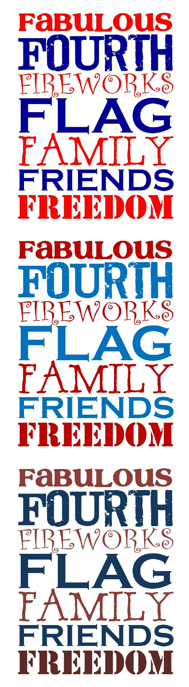 Free Fabulous Fourth Printables - 3 Color Choices