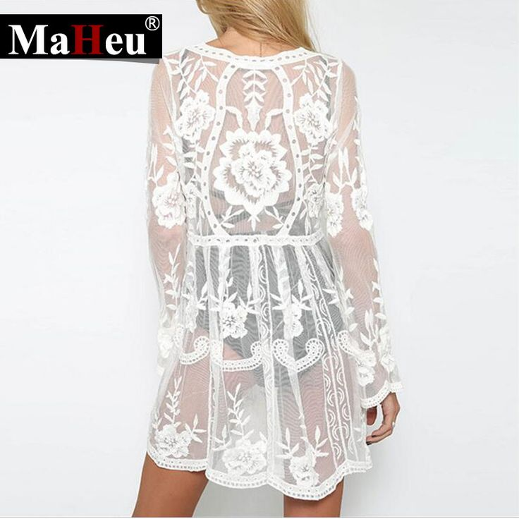 Bathing Suit clothes Summer Dress Kaftan Beach Tunics For Spot Lace Embroidery Embroidered dress Perspective Blouse Robe dress