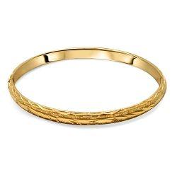 18ct Gold Patterned Bangle