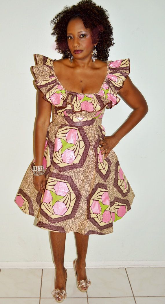 African Fabric Halter Dress, Pink And Brown Ankara Dress, Short African print Dress, Ankara Print Dress, Handmade Dress on Etsy, $60.00