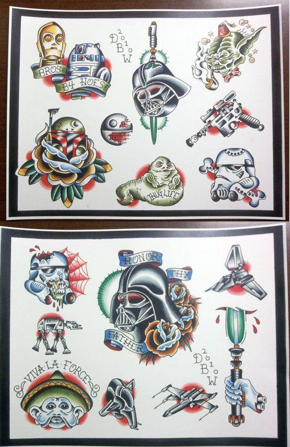 Star Wars Themed Tattoo Flash Set.