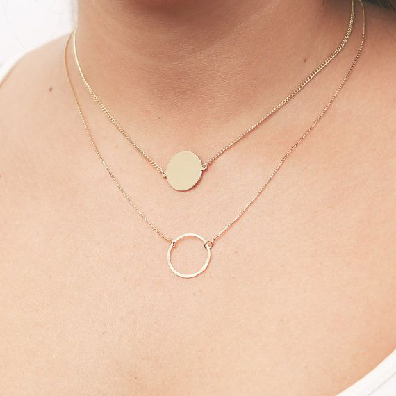 Gold Layering Necklaces with Circle And Disk by meitaltoledo