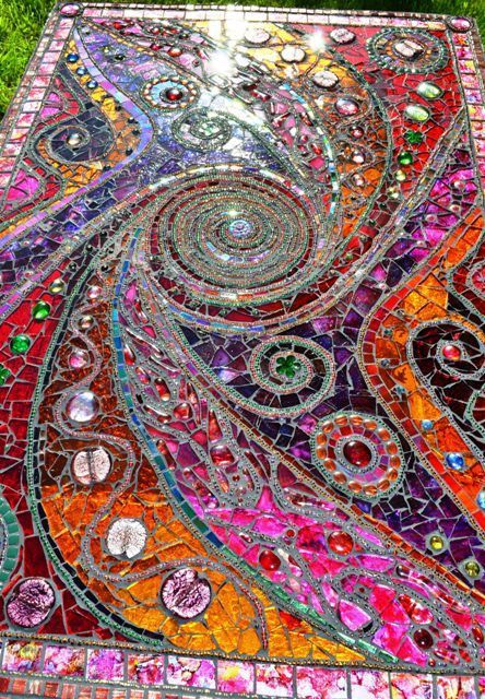 SOLD – Mosaic table, 'light box', spiral, mosaic art – SOLD
