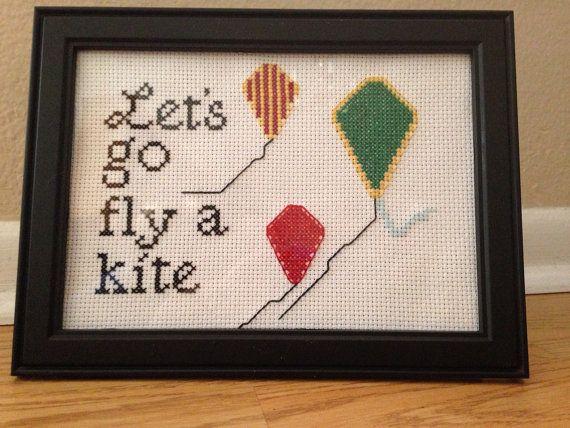 Mary Poppins Cross Stitch, Let's Go Fly A Kite, Framed Cross Stitch, Disney…