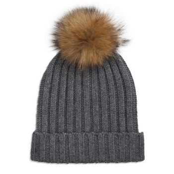 Crafted from soft thick cashmere with an oversized natural raccoon fur pom pom.  -Ribbed design  -Fold-over brim