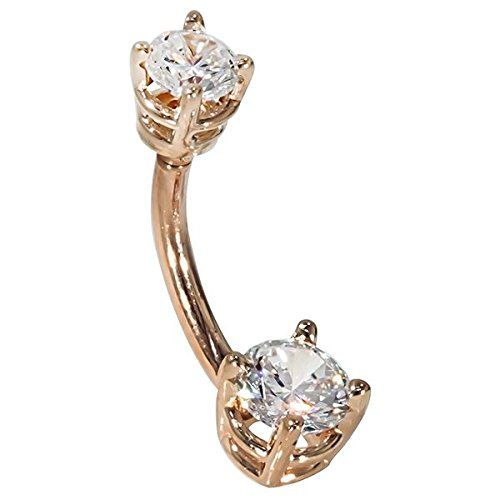 """14G 3/8"""" - Petite Round CZ 14K Rose Gold Belly Ring - (April) - http://www.loveuniquerings.com/cute-belly-button-rings/14g-38-petite-round-cz-14k-rose-gold-belly-ring-april/"""