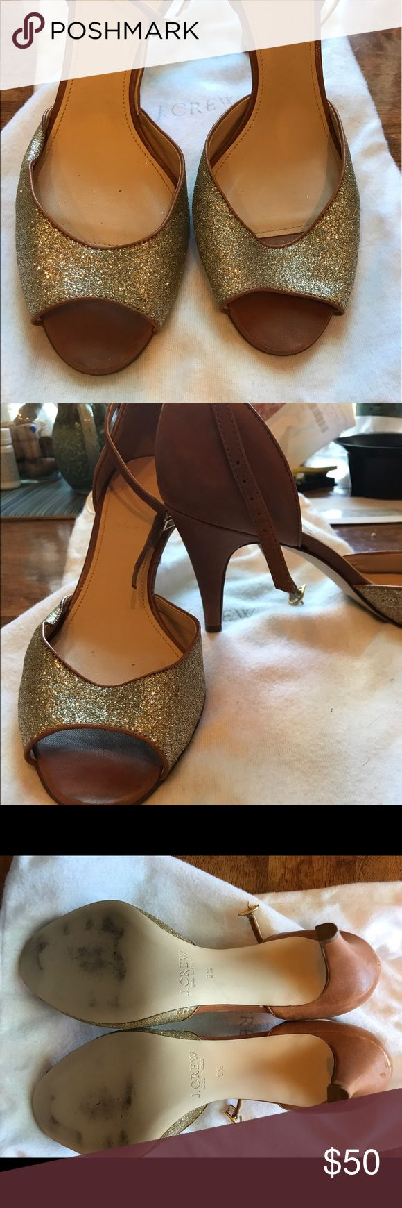 """Jcrew heels Sz 8.5 Worn to one event and have been in a plastic shoe box ever since! Leather with glitter.  Heel is 3"""" high J. Crew Shoes Heels"""