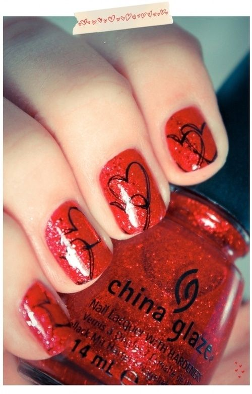 how to draw hearts on nails