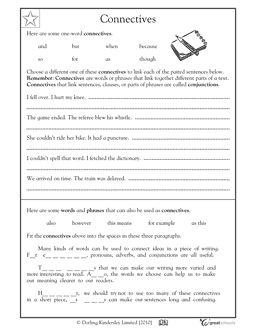 connectives are connecting words in this language arts worksheet your child gets practice. Black Bedroom Furniture Sets. Home Design Ideas