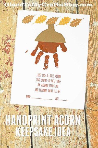 Handprint Acorn Poem  Free Printable  Fall