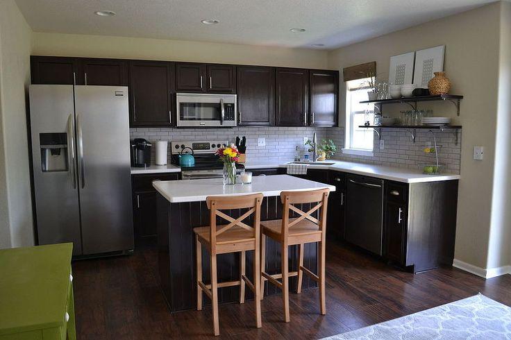 Hometalk :: Kitchen Reveal - Dark Cabinets, Light Counters