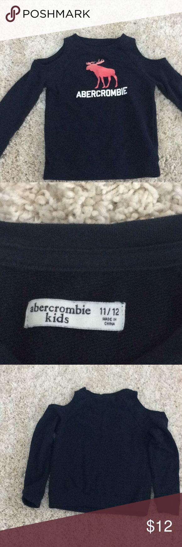 Cold shoulder Abercrombie girls sweater Pink glitter, navy blue, white Abercrombie writing Like new abercrombie kids Shirts & Tops Sweaters